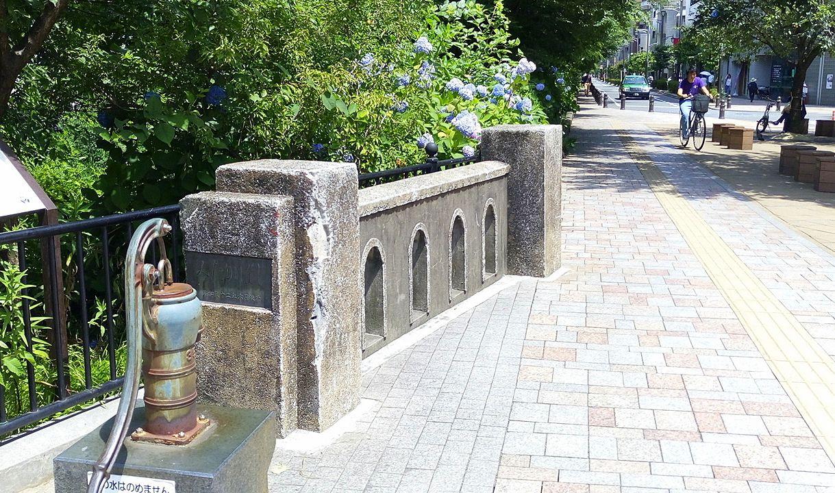 みたか橋の近くには井戸があります。