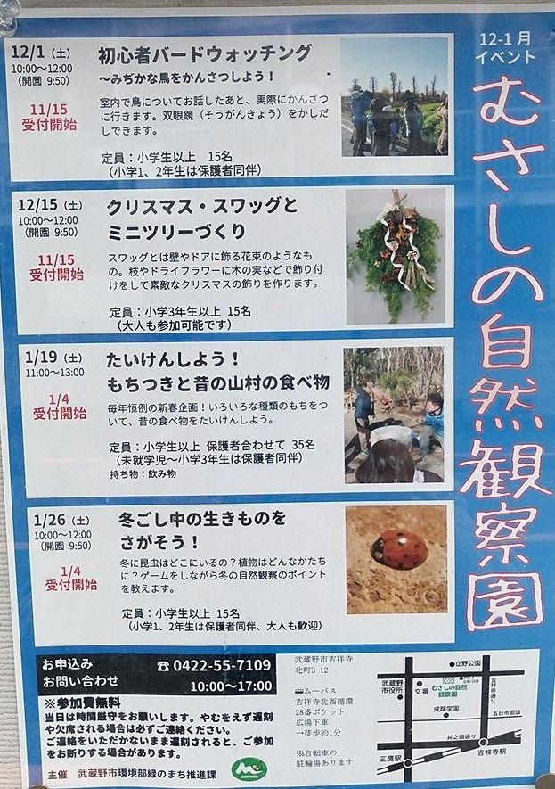 むさしの自然観察園の12月イベント