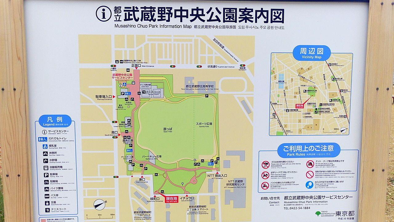 武蔵野中央公園の案内図