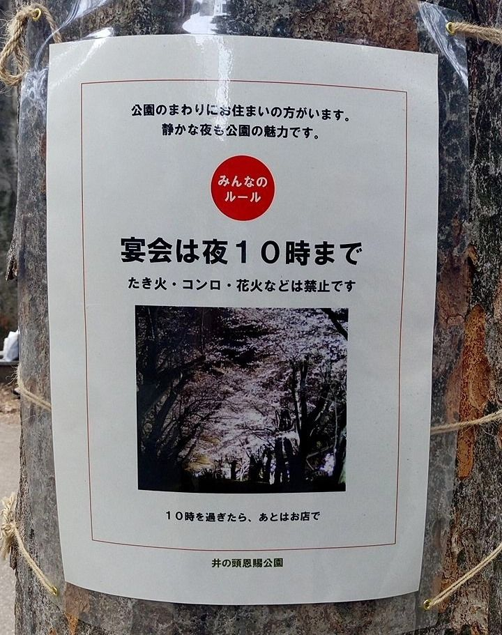 井之頭公園は宴会できますが22時までです