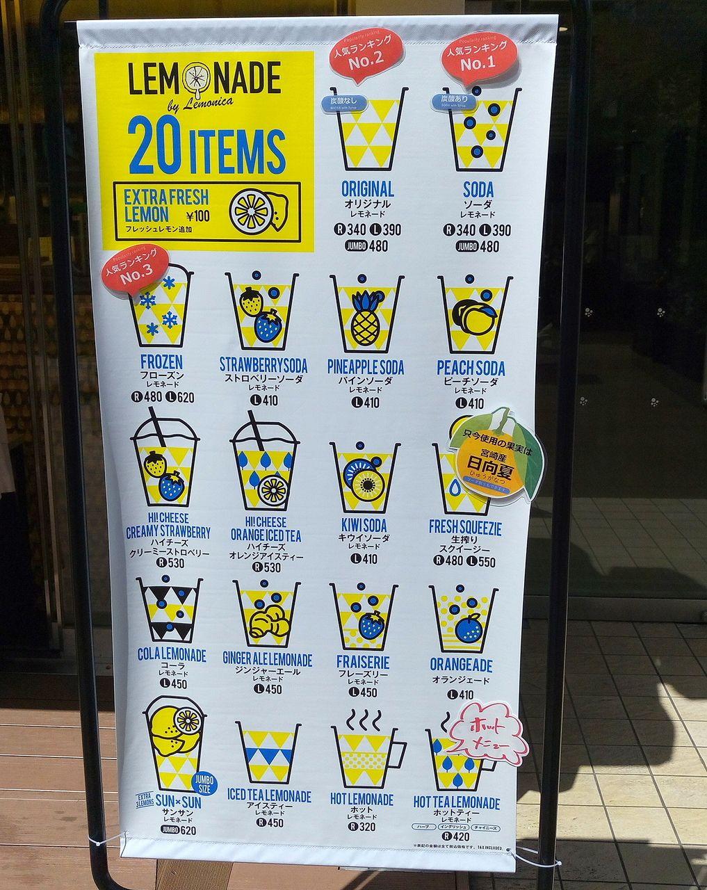 武蔵野市吉祥寺コピス1階のレモネードレモネード専門店