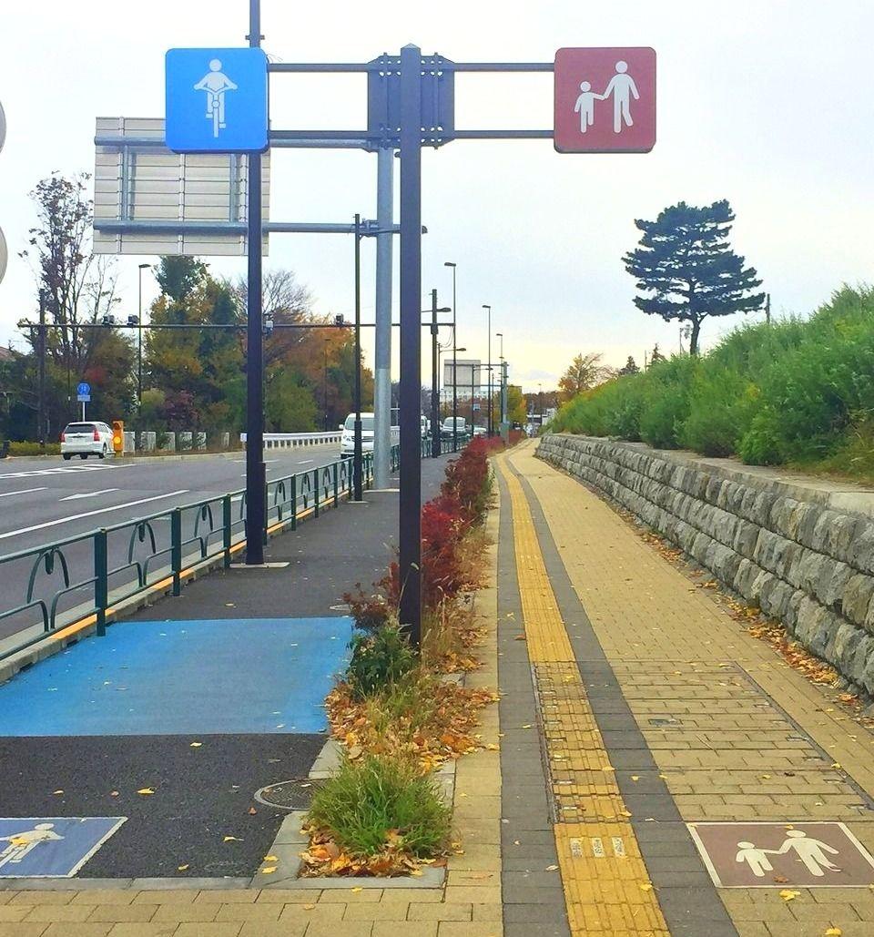 武蔵境駅近くの歩道と自転車道