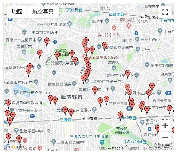 武蔵野市のいっとき避暑地地図