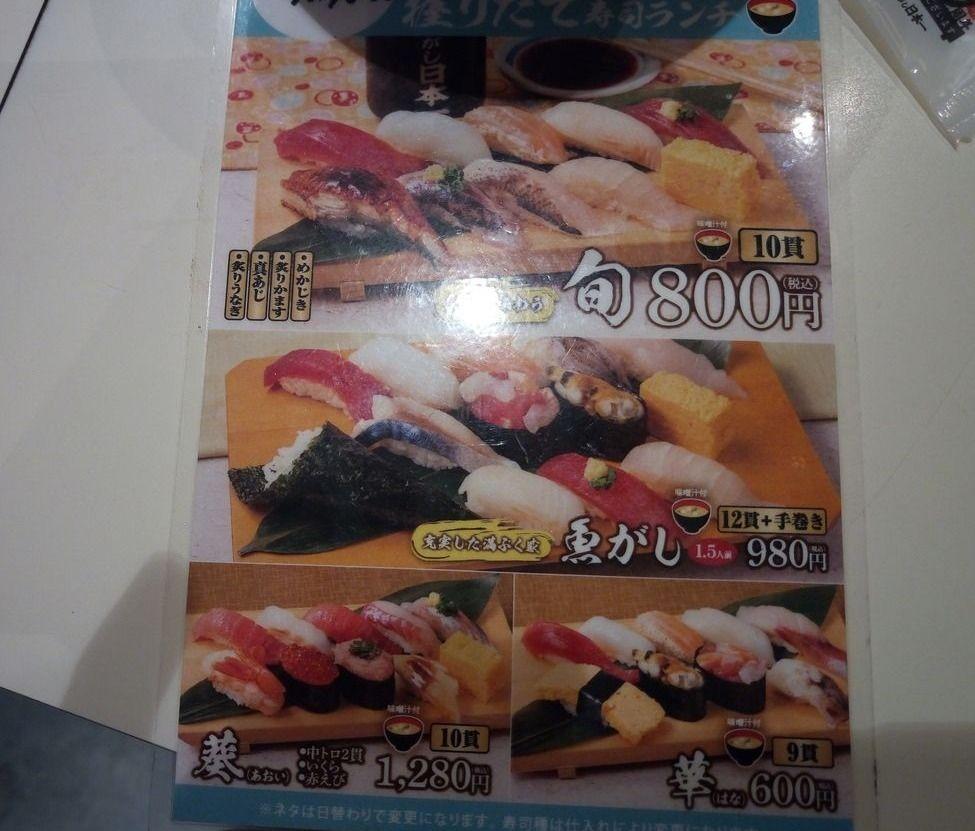 吉祥寺、立ち食い寿司日本一ランチメニュー