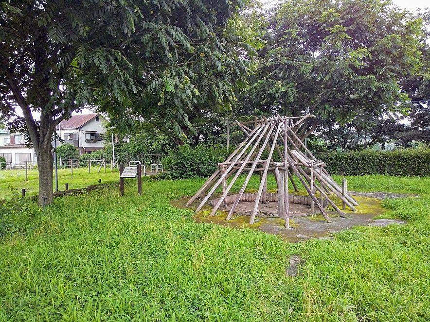 竪穴住居骨格復元、下野谷遺跡、西東京市
