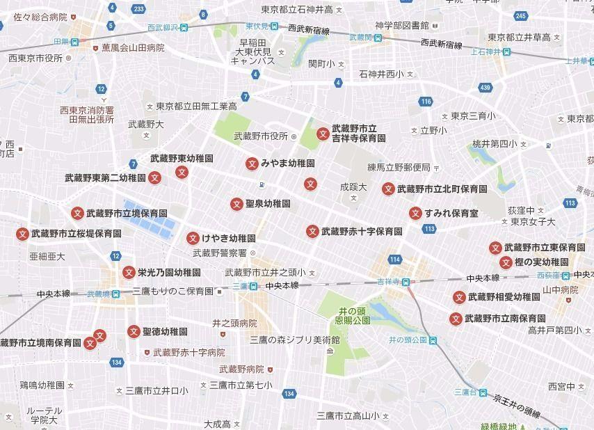 武蔵野市の幼稚園の地図