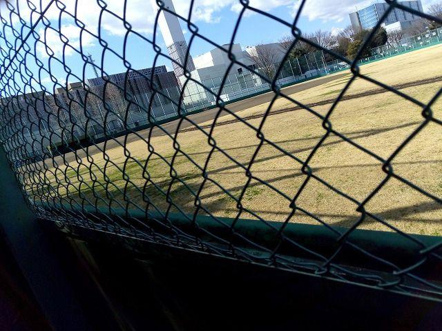 周辺にはフェンスがあり、応援はフェンスの外からです