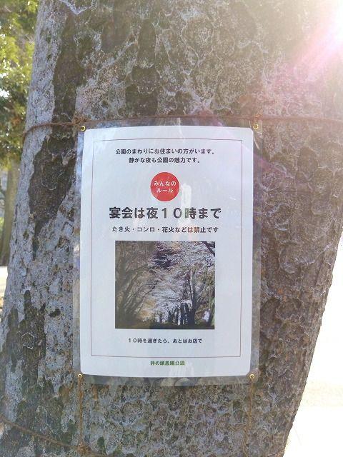 井之頭公園での花見は22時までです