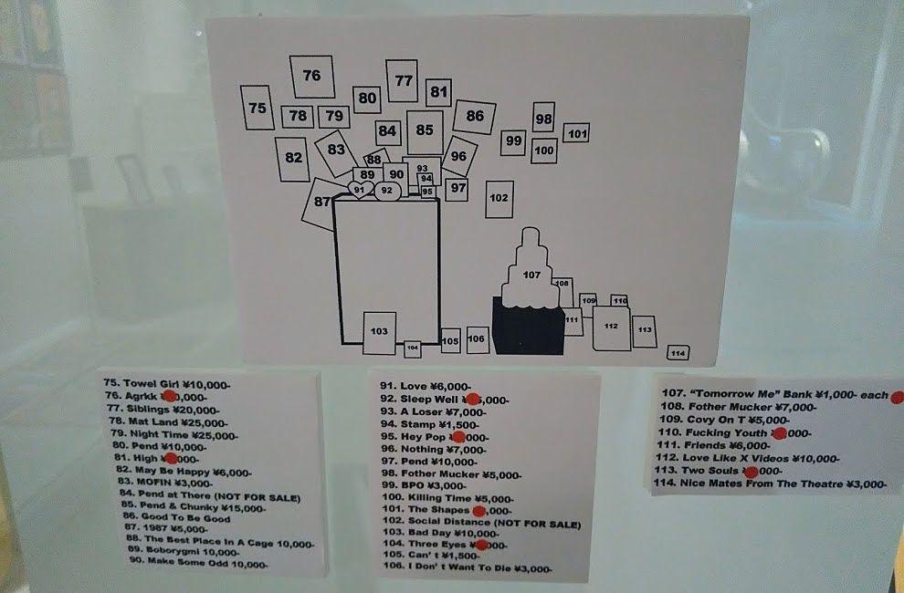 アップリンク吉祥寺「MOFIN」作品の前に価格表があります